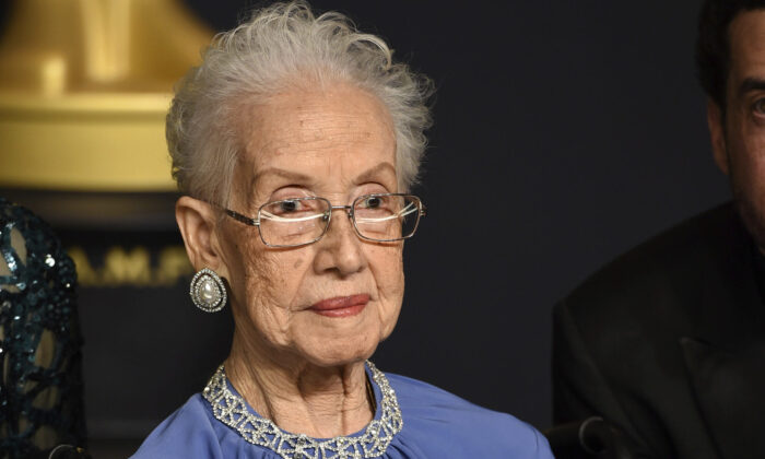 "Katherine Johnson, the inspiration for the film, ""Hidden Figures,"" poses in the press room at the Oscars at the Dolby Theatre in Los Angeles, California on Feb. 26, 2017. (Photo by Jordan Strauss/Invision/File via AP)"
