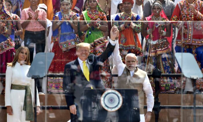 Indian Prime Minister, Narendra Modi and the President Donald Trump and First Lady Melania Trump at Motera Stadium, in Ahmedabad, Gujarat, on Feb. 24, 2020. (Press Bureau pof India)