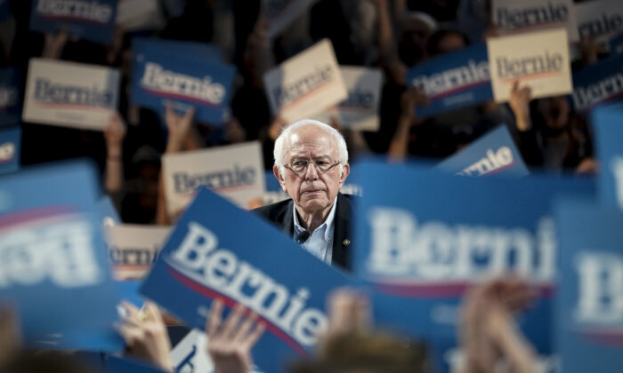 Democratic presidential candidate Sen. Bernie Sanders (I-Vt.) speaks during a campaign rally at the University of Houston on Feb. 23, 2020. (Drew Angerer/Getty Images)