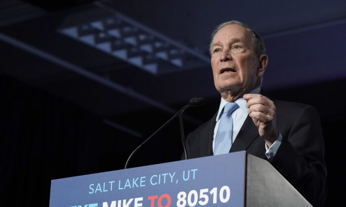 Democratic presidential candidate former New York City Mayor Mike Bloomberg talks to supporters at a rally in Salt Lake City on Feb. 20, 2020. (George Frey/Getty Images)
