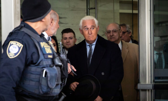 Roger Stone, former adviser to President Donald Trump, leaves the Federal Court after a sentencing hearing in Washington on Feb. 20, 2020. (Samira Bouaou/Epoch Times)