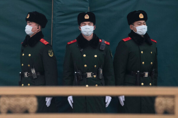 wuhan police wearing mask three