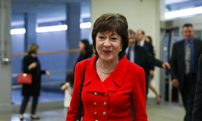 Sen. Susan Collins (R-Maine) in the Senate subway area of the Capitol before President Donald Trump's State of the Union address in Washington on Feb. 4, 2020. (Charlotte Cuthbertson/The Epoch Times)