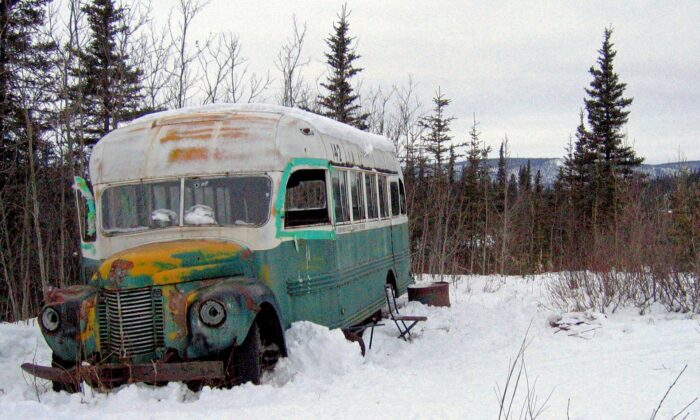 The abandoned bus where Christopher McCandless starved to death in 1992 on Stampede Road near Healy, Alaska, on March 21, 2006. (Jillian Rogers/AP Photo)