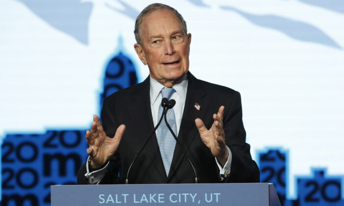 Democratic presidential candidate, former New York City mayor Mike Bloomberg speaks to supporters at a rally in Salt Lake City, Utah, on Feb. 20, 2020. (George Frey/Getty Images)