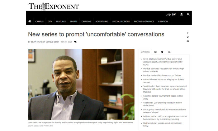 A screenshot of an article published in The Exponent, the Purdue University student newspaper, about a story with John Gates, Purdue's newly appointed vice provost for diversity and inclusion.