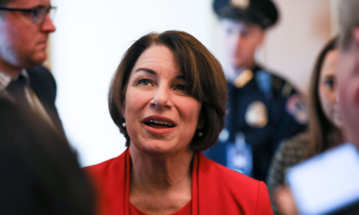 Sen. Amy Klobuchar (D-Minn.) on Capitol Hill in Washington on Feb. 3, 2020. (Charlotte Cuthbertson/The Epoch Times)