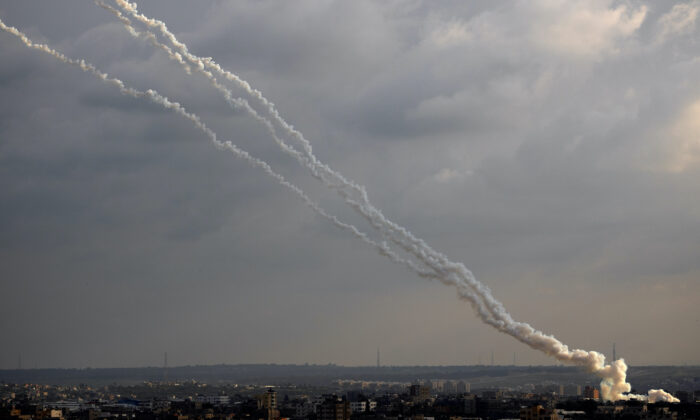 Rockets are launched from the Gaza Strip toward Israel on Feb. 24, 2020. (Khalil Hamra/AP Photo)