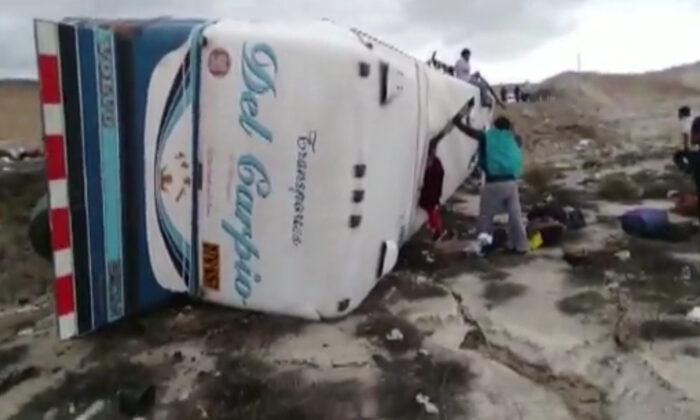 Two buses crash in Arequipa, Peru, on Feb. 24, 2020. (Courtesy of TV Peru)