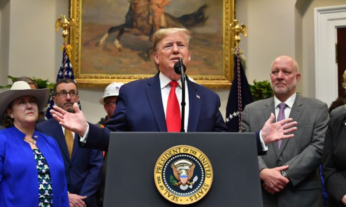 President Donald Trump speaks about the proposed changes to the National Environmental Policy Act at the White House in Washington, DC on January 9, 2020. (NICHOLAS KAMM/AFP via Getty Images)