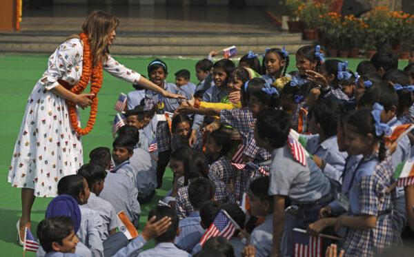 U.S.-first-lady-Melania-Trump-in-New-Delhi