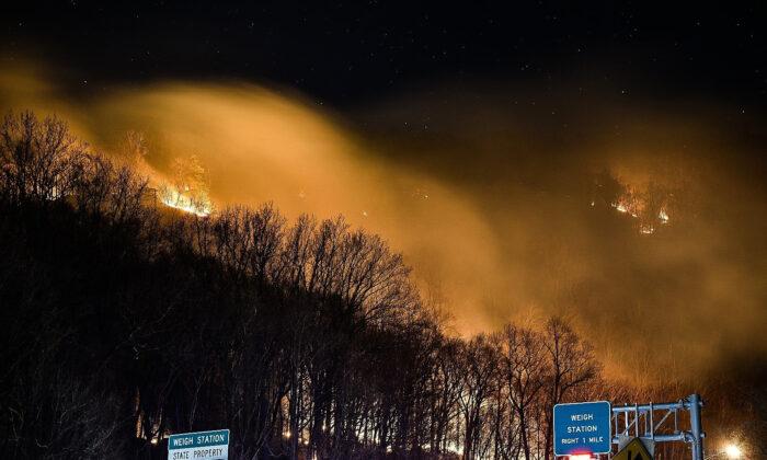 A wildfire near the New Jersey side of the Delaware Water Gap National Recreation Area near Hardwick Township, N.J., on Feb. 23, 2020. (Adam Polinger via AP)