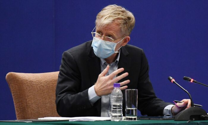Bruce Aylward, head of the WHO-China Joint Mission on COVID-19 speaks at a press conference about the COVID-19 coronavirus outbreak, in Beijing, on Feb. 24, 2020. (Matthew Knight/AFP via Getty Images)