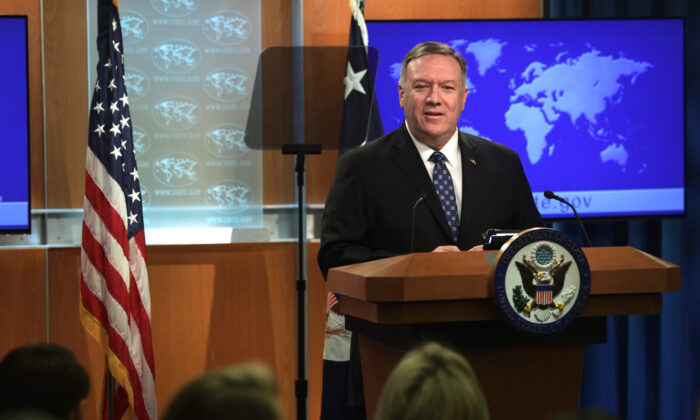 U.S. Secretary of State Mike Pompeo speaks during a news briefing at the State Department in Washington, on Feb. 25, 2020. (Alex Wong/Getty Images)