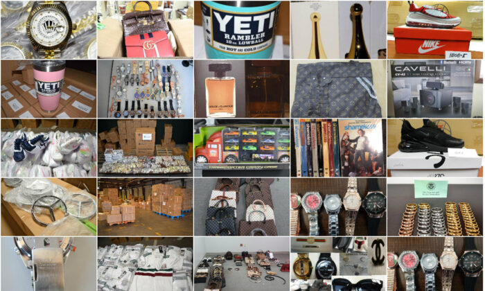 A collage composed of photos of counterfeits seized by Customs and Border Protection. (Epoch Times/CBP)