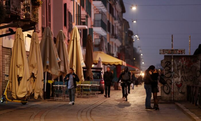 Closed bars and pubs are seen in the Naviglio area of Milan, as the country is hit by the coronavirus outbreak, in Italy on Feb. 25, 2020. (Yara Nardi/Reuters)