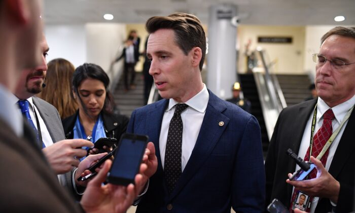 U.S. Senator Josh Hawley (R-Mo.) speaks to the press during a recess in the impeachment trial at the U.S. Capitol in Washington on Jan. 24, 2020. (Mandel Ngan/AFP via Getty Images)
