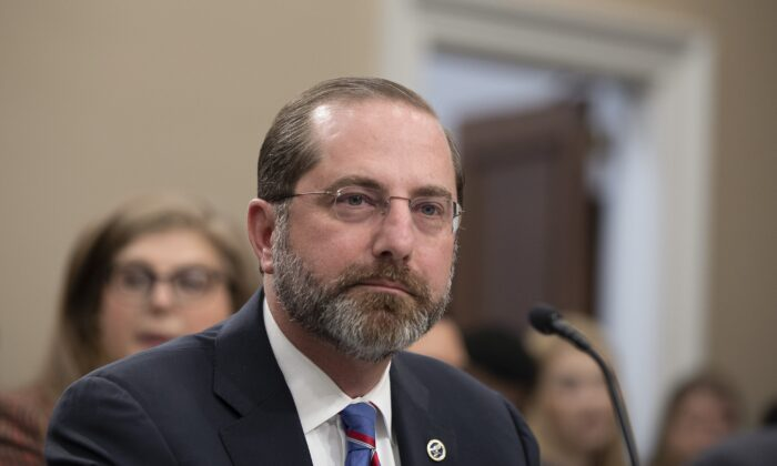 Secretary of Health and Human Services Alex Azar testifies before the House Appropriations Committee in Washington on Feb. 26, 2020. (Tasos Katopodis/Getty Images)