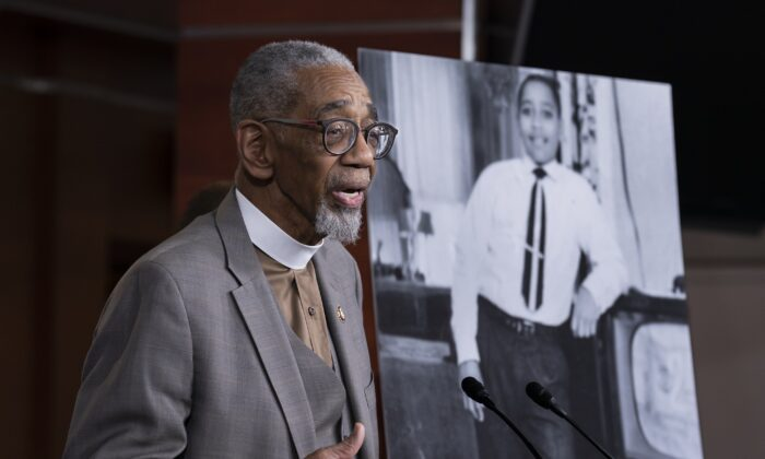 """Rep. Bobby Rush (D-Ill.) speaks during a news conference about the """"Emmett Till Antilynching Act"""" which would designate lynching as a hate crime under federal law, in Captiol Hill, Washington, on Feb. 26, 2020. (J. Scott Applewhite/AP Photo)"""