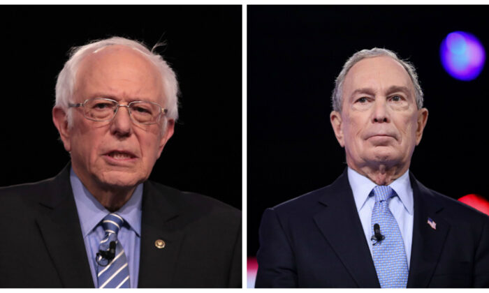 Democratic presidential hopefuls Sen. Bernie Sanders (I-Vt.), left, and former New York Mayor Mike Bloomberg, right, stand before the primary debate on Feb. 25, 2020. (Scott Olson/Getty Images; Logan Cyrus/AFP via Getty Images)