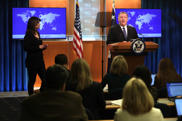 Secretary Of State Mike Pompeo Holds Press Briefing At The State Department