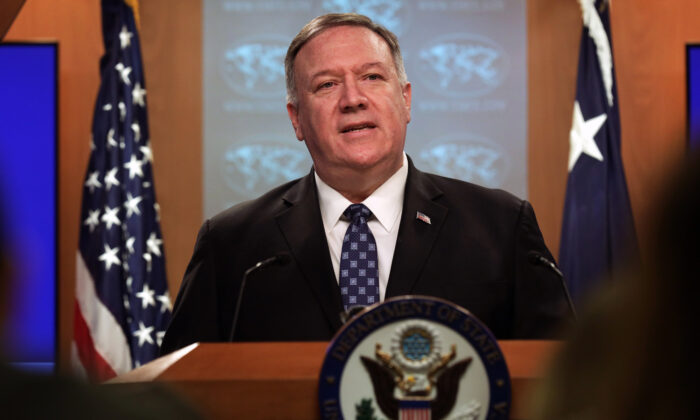U.S. Secretary of State Mike Pompeo speaks during a news briefing at the State Department in Washington on Feb. 25, 2020. (Alex Wong/Getty Images)