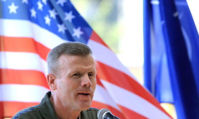 The Commander of the U.S. Air Forces in Europe Tod D. Wolters speaks to journalists at the Siauliai Air Base in Siauliai, Lithuania, on Aug. 30, 2017. (Petras Malukas/AFP via Getty Images)