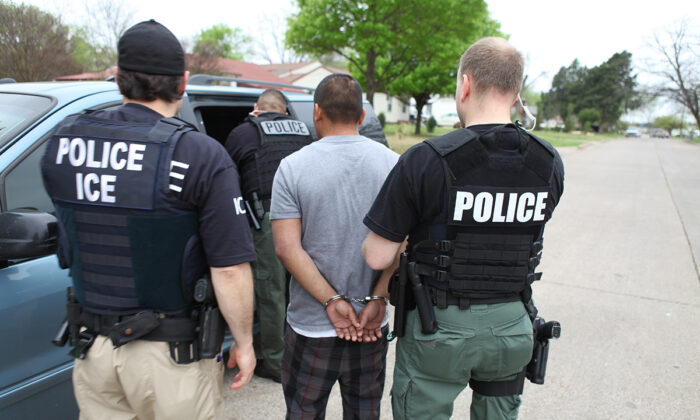 ICE agents arrest an illegal alien during an operation in Baltimore, Md., on Nov. 22, 2019. (ICE)