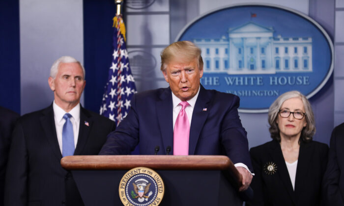 President Donald Trump holds a press conference with health officials and cabinet members about the coronavirus in the White House on Feb. 26, 2020. (Charlotte Cuthbertson/The Epoch Times)