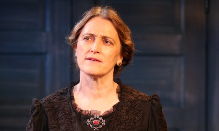 """Una Clancy as Lady Gregory, the great benefactress of Irish theater, in """"Lady G: Plays and Whisperings of Lady Gregory."""" (Carol Rosegg)"""