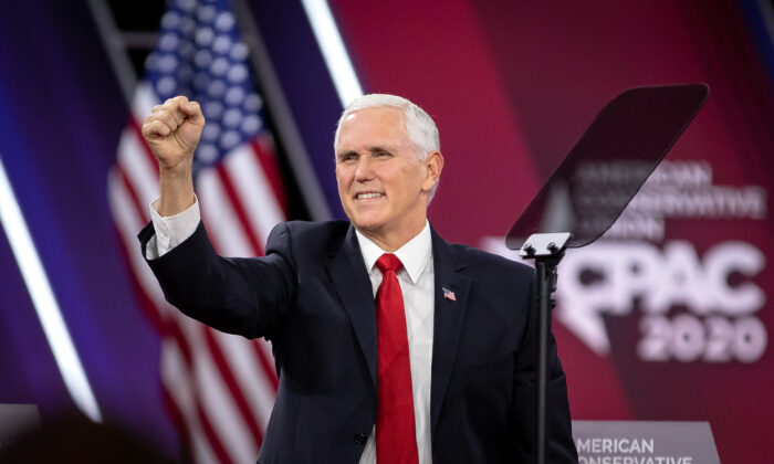 Vice President Mike Pence speaks at the CPAC convention in National Harbor, Md., on Feb. 27, 2020. (Samira Bouaou/The Epoch Times)