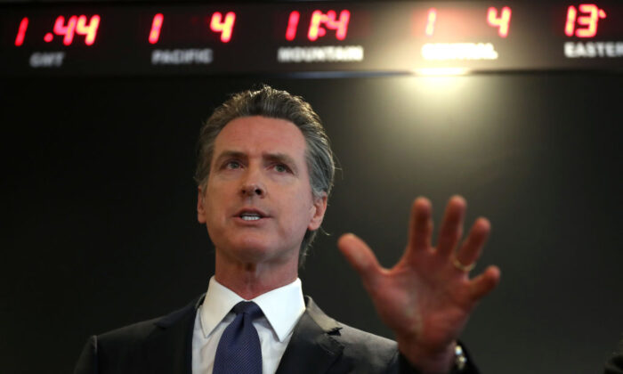 Gov. Gavin Newsom speaks during a news conference at the California Department of Public Health in Sacramento, Calif., on Feb. 27, 2020. (Justin Sullivan/Getty Images)