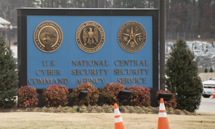 A sign for the National Security Agency (NSA), US Cyber Command and Central Security Service, near the visitor's entrance to the headquarters of the National Security Agency (NSA) in Fort Meade, Md., on Feb. 14, 2018. (Saul Loeb/AFP via Getty Images)