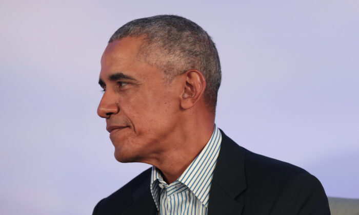 Former President Barack Obama speaks to guests at the Obama Foundation Summit on the campus of the Illinois Institute of Technology in Chicago, Illinois, on Oct. 29, 2019. (Scott Olson/Getty Images)