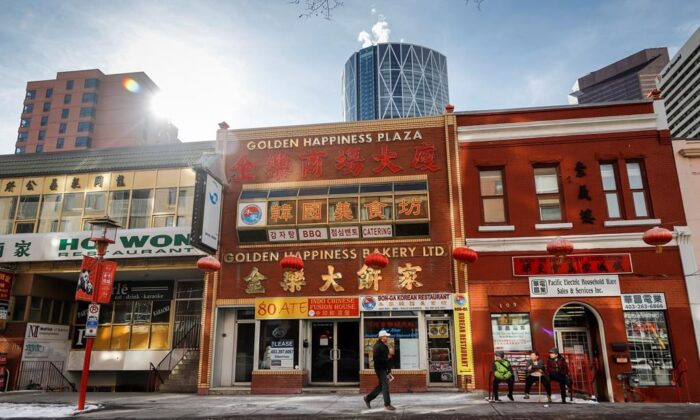 Quiet streets in Chinatown in Calgary, Alta., on Feb. 26, 2020. (Jeff McIntosh/Canadian press)