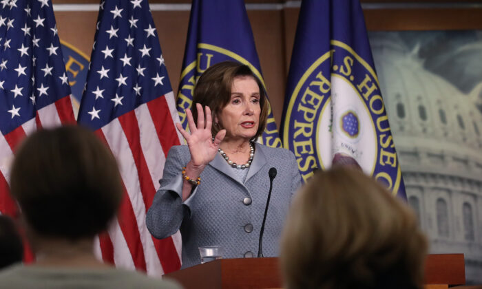 House Speaker Nancy Pelosi (D-Calif.) speaks to reporters in Washington on Feb. 27, 2020. (Mark Wilson/Getty Images)