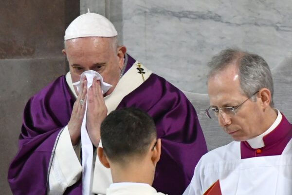 Pope Francis blows his nose
