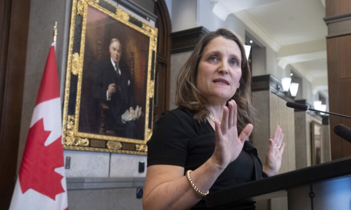 Deputy Prime Minister and Minister of Intergovernmental Affairs Chrystia Freeland speaks with the media about the USMCA trade agreement in the foyer of the House of Commons on Parliament Hill in Ottawa Jan. 27, 2020. (The Canadian Press/Adrian Wyld)