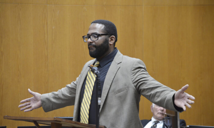 Defendant Willie Cory Godbolt, 37, addresses the jury during the penalty phase of his capital murder trial,  at the Pike County Courthouse in Magnolia, Miss., on Feb. 27, 2020. (Donna Campbell/The Daily Leader via AP, Pool)