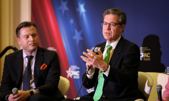 Sam Brownback (R), the U.S. Ambassador-at-Large for International Religious Freedom speaks at a CPAC panel in National Harbor, Md., on Feb. 27, 2020. (Samira Bouaou/The Epoch Times)
