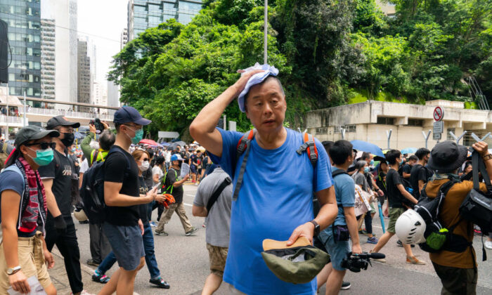 Jimmy Lai, attends a pro-democracy protesters march in Admiralty in Hong Kong on Aug. 31, 2019. (Billy H.C. Kwok/Getty Images)
