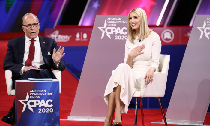 Director of the National Economic Council Larry Kudlow and Advisor to the President Ivanka Trump speak at the CPAC convention in National Harbor, Md., on Feb. 28, 2020. (Samira Bouaou/The Epoch Times)