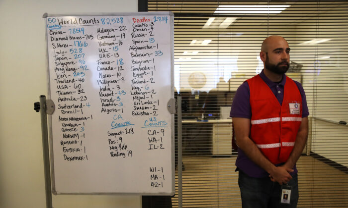 Narimon Mirza stands next to a whiteboard showing the number of coronavirus COVID-19 cases around the world at the Medical Health and Coordination Center at the California Department of Public Health in Sacramento on Feb. 27, 2020. (Justin Sullivan/Getty Images)