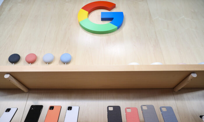 The new Google Pixel 4 smartphone and cases are displayed during a Google launch event in New York City, U.S., on Oct. 15, 2019. (Drew Angerer/Getty Images)