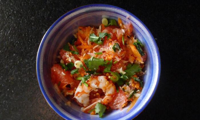 Sweet, tart, pungent, spicy grapefruit shrimp salad. (Ari LeVaux)