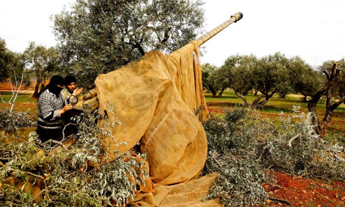 Syrian fighters set a target to an artillery near Idlib, Syria Feb. 27, 2020. (Umit Bektas/Reuters)