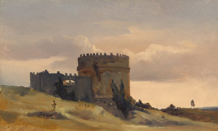 """""""The Tomb of Caecilia Metella,"""" circa1830, byLéon-François-Antoine Fleury. Oil on canvas; 11 inches by 13 inches. Gift of Frank Anderson Trapp.(National Gallery of Art, Washington)"""