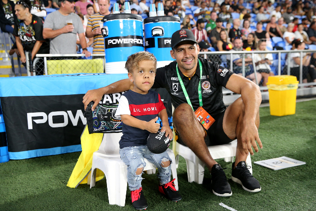 Rugby fiend Quaden Bayles alongside professional rugby player Cody Walker