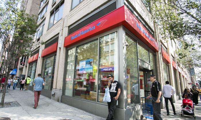 Bank of America in the Chelsea neighborhood in Manhattan, New York, on July 7, 2015. (Samira Bouaou/Epoch Times)