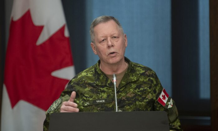 Chief of the Defence Staff Jonathan Vance responds to a question during a ministerial news conference in Ottawa on March 30, 2020. (The Canadian Press/Adrian Wyld)